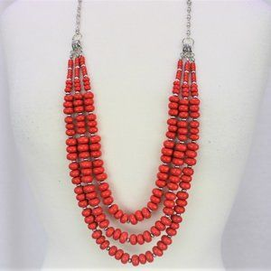Beaded Neclace Rustic Orange